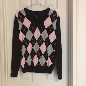Tommy Hilfiger pink and brown argyle sweater S
